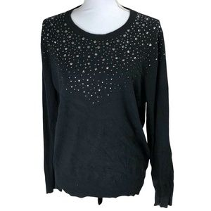 Merona Sweater XL Black Scoop Neckline Rhinestones